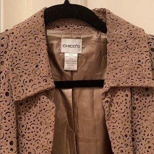 Perforated suede leather jacket brown 0